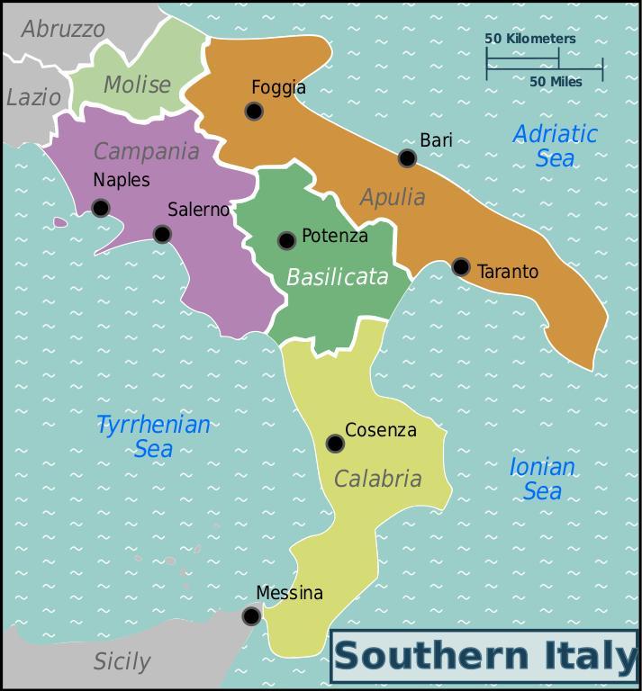 Mapa Jizni Italie Mapa Jizni Italie S Mesty Jizni Evropa Evropa