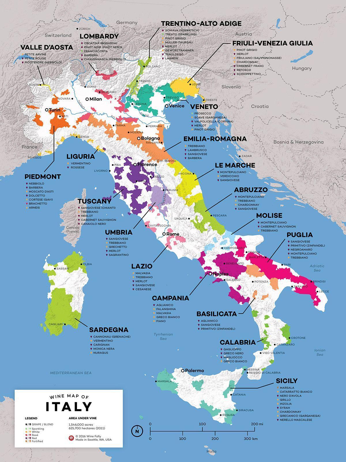 Italie Vinarskych Oblasti Mapa Italie Vino Mapa Jizni Evropa