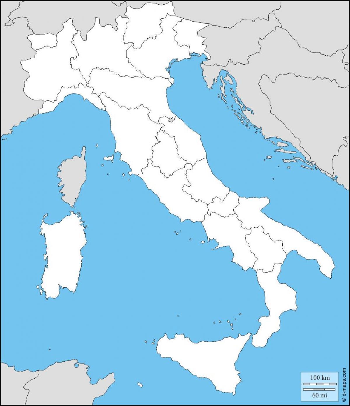 Slepa Mapa Italie Slepa Mapa Italie S Regiony Jizni Evropa